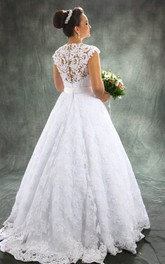 Vintage A Line Detachable Train Sheer Neck Bridal Gown