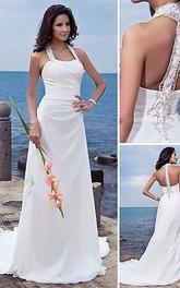 sheath Halter Court Train Chiffon Wedding Dress