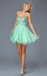 A-Line Mini Sweetheart Sleeveless Backless Dress With Beading