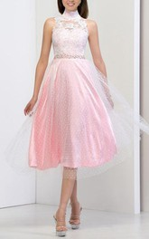 High Neck Open Back Sequins Appliques Prom Dress