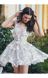 A-line Sleeveless Lace Plunging Neckline V-neck Short Mini Homecoming Dress