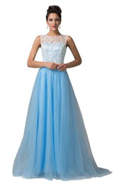 High-neck A-line Chiffon Dress With Lace Bodice