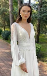 Chiffon Floor-length Court Train A Line Long Sleeve Luxury Wedding Dress with Ruching