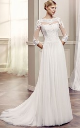 Bateau Floor-Length Beaded Half Sleeve Tulle Wedding Dress