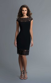 Pencil Knee-Length Bateau Cap-Sleeve Jersey Illusion Dress With Lace