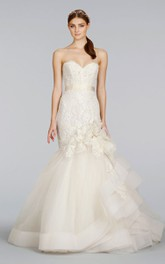 Unique Lace Bodice Tulle Pick-up Dress With Ribbon and Floral Corsage