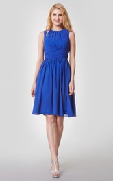 Elegant High Neck Pleated Short Chiffon Dress With Sash