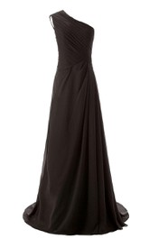 One-shoulder Long Chiffon Dres With Sweep Train