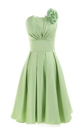 Strapless Empire Short Ruffled Dress With Flower