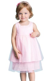 Sleeveless A-line Tiered Tulle Dress With Pleats and Bow