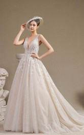 Vintage Plunging V-neck Keyhole Sleeveless Ballgown Wedding Dress With Lace Appliques And Ruching