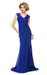 Elegant Chiffon and Lace Sheath V-Neck Cap Sleeve Keyhole Dress