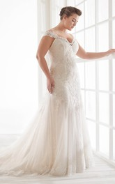 Buttons V-back Off-the-shoulder Sexy Trumpt Lace Wedding Dress With Straps