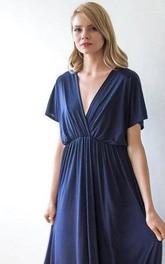 V Neck V Back Short Sleeve Pleated A-line Jersey Floor Length Dress