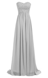 Sweetheart Empire Long Gown With Sequined Bodice
