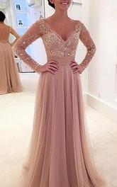 Elegant Long Sleeve Lace Appliques 2018 Evening Dress Tulle Detachable