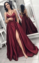 Satin Floor-length A Line Sleeveless Simple Evening Dress with Pockets and Ruffles