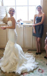 Trumpet Sleeveless Court Train Sweetheart Ruffles Satin Organza Wedding Dresses