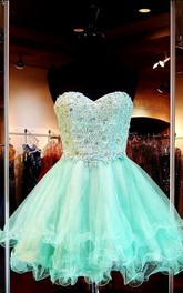 A-line Sweetheart Sleeveless Applique Short Tulle Dresses