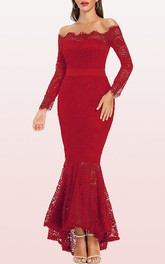 Vintage Long Sleeve Lace Mermaid Off-the-shoulder Prom Dress With Sash