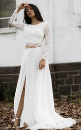 Bohemian Bateau Chiffon Lace Two Piece Long Sleeve Sweep Train Wedding Dress with Split Front