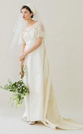 Short Sleeve Satin and Lace A-Line Dress With Watteau Train