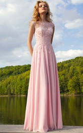 Sheath Cap-Sleeve Bateau-Neck Appliqued Floor-Length Chiffon Prom Dress