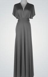 V-Neck Floor-Length Dress With Poet Sleeve