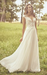 Appliqued Cap Sleeve Illusion Plunging Neckline And Illusion Back Lace Chiffon Wedding Dress
