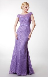 Showy Sheath Cap-sleeved Lace Gown With V Back