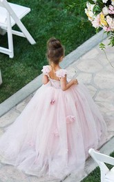 Flower Girl Spaghetti Straps Tulle Ball Gown With Flowers