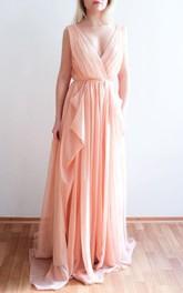 Nude Blush Chiffon One Of A Kind Dress