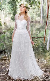 Chiffon Lace Low-V Back Wedding Dress