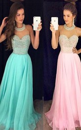 Timeless Beads High-Neck Long Prom Dress 2018 Chiffon Sleeveless Party Gowns