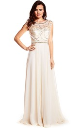 Beaded Bateau Neck Cap Sleeve Chiffon Prom Dress With Keyhole