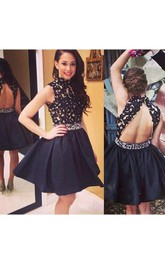 Short A-Line High-Neck Sleeveless Prom Dress With Appliques