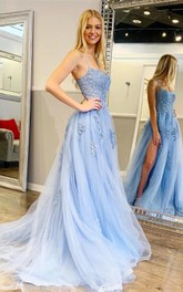 Tulle Floor-length Sweep Train A Line Sleeveless Casual Evening Dress with Lace