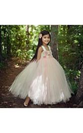 Floral Empire Floor Length Tulle Ball Gown Flower Girl