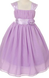 Cap-sleeved Square-neck A-line Dress With Belt and Pleats