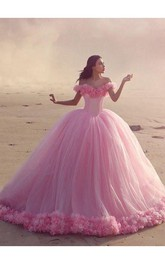 Fairy Pink Off-the-Shoulder 2018 Wedding Dress Tulle Ball Gown With Train
