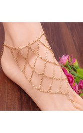 Summer Exaggerated Foot Decorated Diamond Mesh With Anklet 50Cm