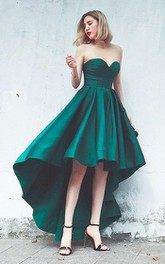 Satin High-Low A Line Sleeveless Adorable Evening Dress with Pleats