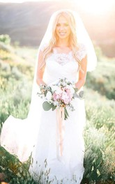 Sheer Crew Neck Garden Mermaid Boho Lace Bodice Appliques Backless Elegant Bridal Gown