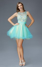 Muti-Color A-Line Short Scoop-Neck Sleeveless Tulle Illusion Dress With Appliques And Ruffles