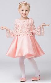 Flower Girl Jewel Neck Satin Mini Dress With Appliqued Top