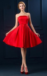 Casual Strapless Knee length Dress with Corset Back