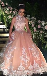 High Neck Ball Gown Floor-length Sleeveless Lace Tulle Prom Dress with Zipper Back