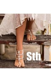 Retro Gypsy Ethnic Beach Wedding Diamond Drill Sexy Multi-link Anklet