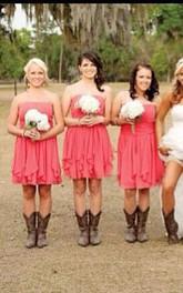 A-line Mini Strapless Cascading Ruffles Peplum Ruffles Zipper Chiffon Dress