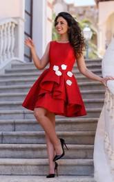 A-line Sleeveless Satin Bateau Knee-length Homecoming Dress